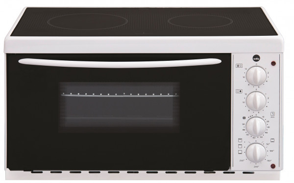 WILFA BRASE Mini-Ofen mit Kochplatte - mit 2 leistungsstarken Kochplatten (1000 und 1500 Watt), 22 L, Keramikoberfläche für leichte Reinigung, weiß