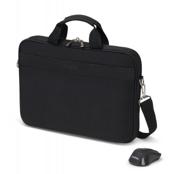 DICOTA 15,6 Top Traveller Notebooktasche inkl. Wireless Mouse Kit, black
