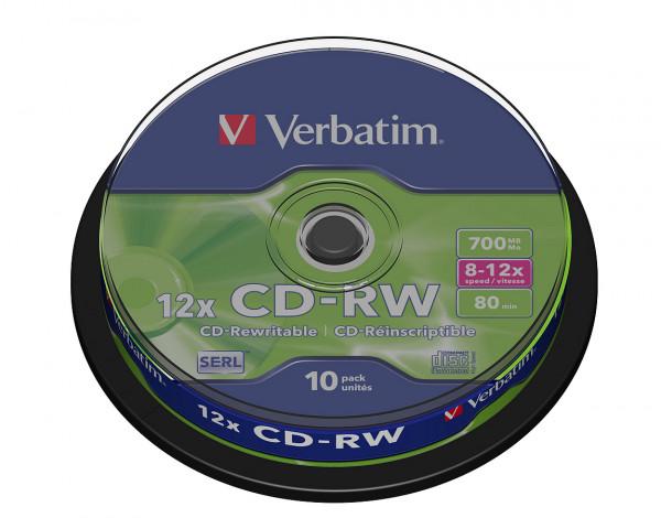 VERBATIM CD-RW SERL 700MB 12x 10er Spindel