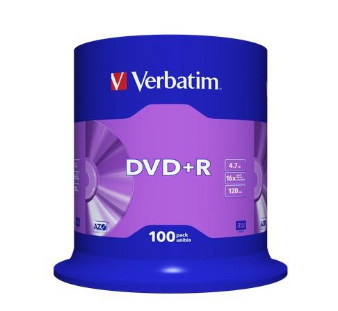 VERBATIM DVD+R 4,7GB 16x 100er Spindel