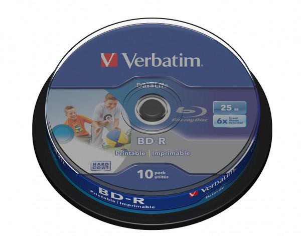 VERBATIM Blu-Ray BD-R SL Datalife HTL 25GB 6x 10er Spindel bedruckbar