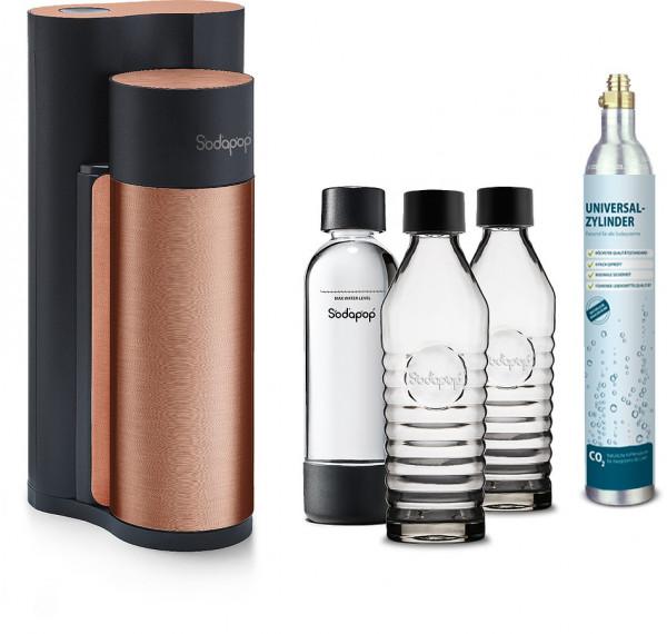 SODAPOP Wassersprudler Harold, kupfer/schwarz, 2x Glaskaraffen, 1x PET Flasche, C02 Zylinder