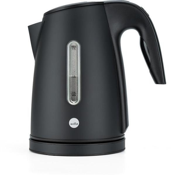 WILFA Wasserkocher RAPIDS, mit einem Fassungsvermögen von 1,7 Litern, 2000 Watt, außenliegende Wasserstandsanzeige, Edelstahl, WK3B-2000, schwarz