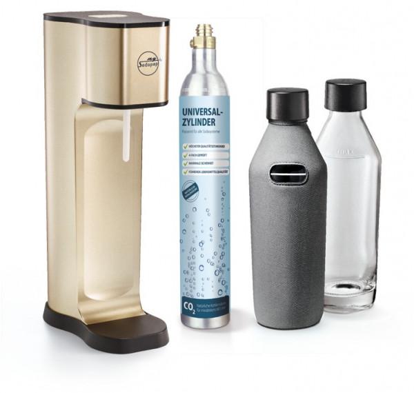 SODAPOP Wassersprudler Joy Prestige, champagner, 2 Glaskaraffen 850ml mit Bottle Shirt, CO2-Zylinder