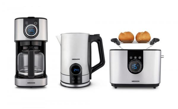 MEDION Edelstahl Frühstücksset: MD10220 Kaffeemaschine MD 19480 (1,5L Fassungsvermögen) +Wasserkocher MD 10215 (1,7L Fassungsvermögen) +Toaster MD 10216