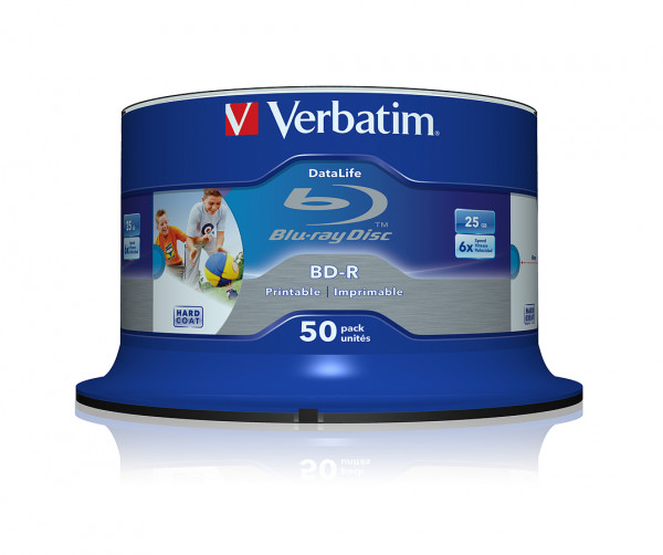 VERBATIM Blu-Ray BD-R SL Datalife HTL 25GB 6x 50er Spindel bedruckbar