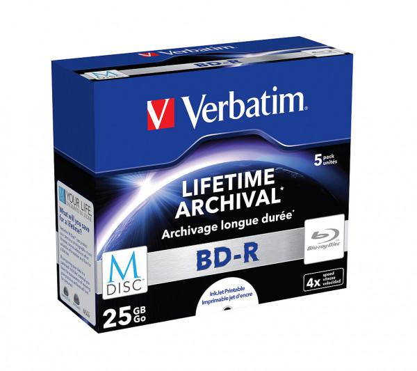 VERBATIM M-DISC Blu-Ray BD-R 25GB 4x 5er JewelCase bedruckbar