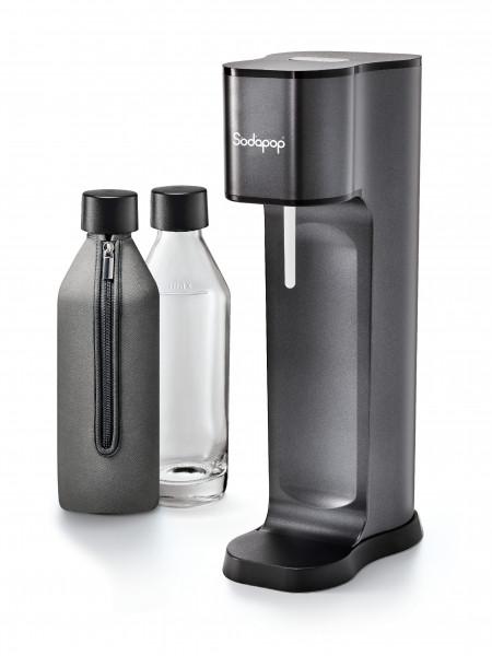SODAPOP Wassersprudler Joy Prestige, avantgarde black, 2x Glaskaraffe, 2 Bottle-Shirts, 1x CO2-Zylinder