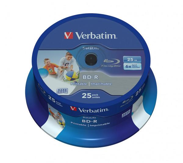 VERBATIM Blu-Ray BD-R SL Datalife HTL 25GB 6x Speed 25er Spindel bedruckbar Rohlinge