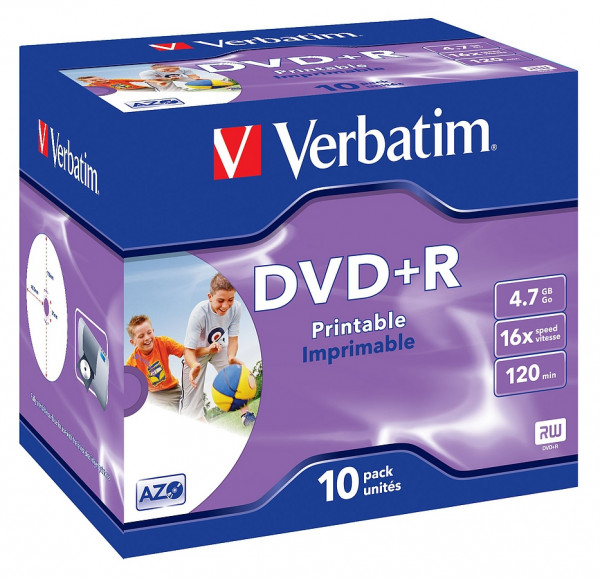 VERBATIM DVD+R AZO 4.7GB 16x 10er Jewel Case bedruckbar