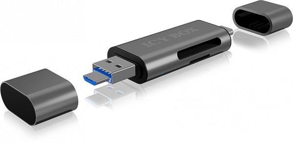 RAIDSONIC ICY BOX SD/MicroSD, USB 2.0 Card Reader mit USB-C & -A und OTG, anthrazit
