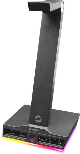 SPEEDLINK EXCELLO Illuminated Headset Stand, 3-Port USB 2.0 Hub, integrated Soundcard, black